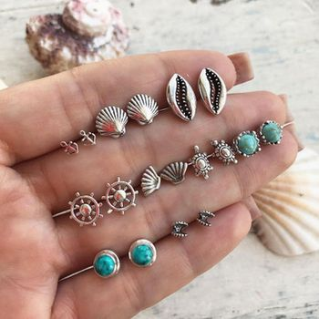 2019 Boho Vintage Jewelry Bohemian Starfish Wave Turtle Shell  Geometric Round Heart Earring Set For Women