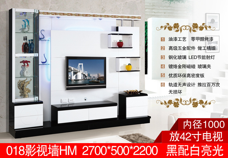 living room corner lcd tv stand wooden furniture 018# modern tv wall ...