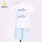 Summer Fashion Cotton Knitted Fish pattern baby Clothing Boys Toddler Clothes Set