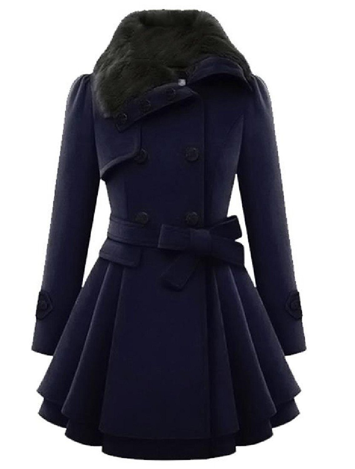 Coolred Women Warm Thick Double-breasted Long-sleeve Pleated Wool Coat