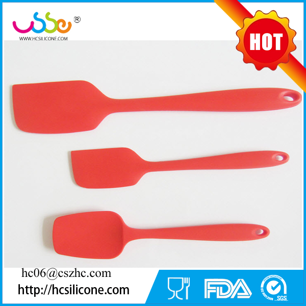FDA Approved Heat Resistant Cooking Utensil Stainless Steel Handle 3-piece silicone spatula set
