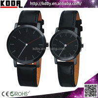 Fashion Black Couple Watches Men Women Lovers Leather Strap Watch