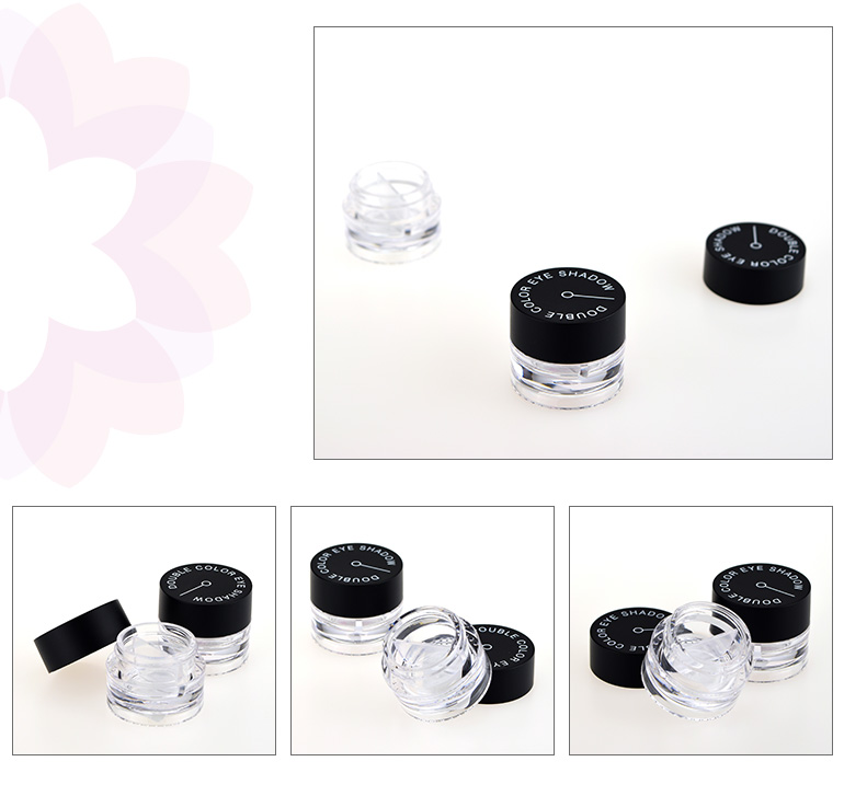 OEM empty plastic eye shadow cosmetic packaging jar with low moq