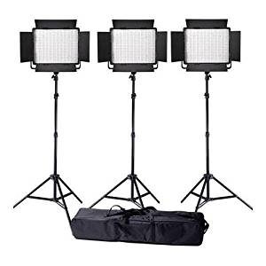 Ledgo Value Series Daylight AC/DC Sony LED Panel 900 3-Light Kit, Includes Daylight LED Panel 900, 8.0' Air Cushioned Stand, Interfit Stand Bag
