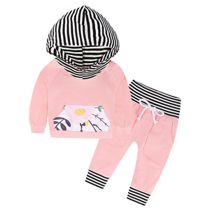 Spring Winter Baby Cloth Set 2pcs Newborn Infant Girls Pink Outfits Long Sleeve Hooded Tops + Striped Pants Baby Clothes Set