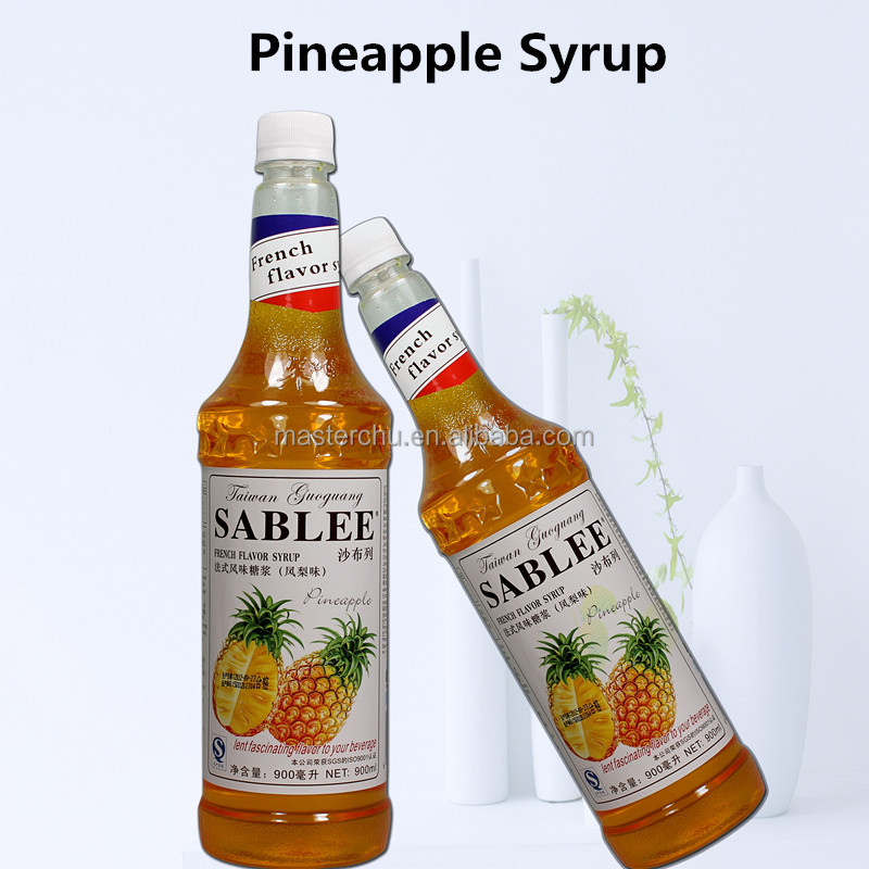 SABLEE French pineapple flavor syrup for molasses bubble tea 900ml