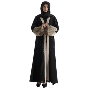 Hot selling Middle Abaya Women arabic Turkey embroidered pearl long maxi dress