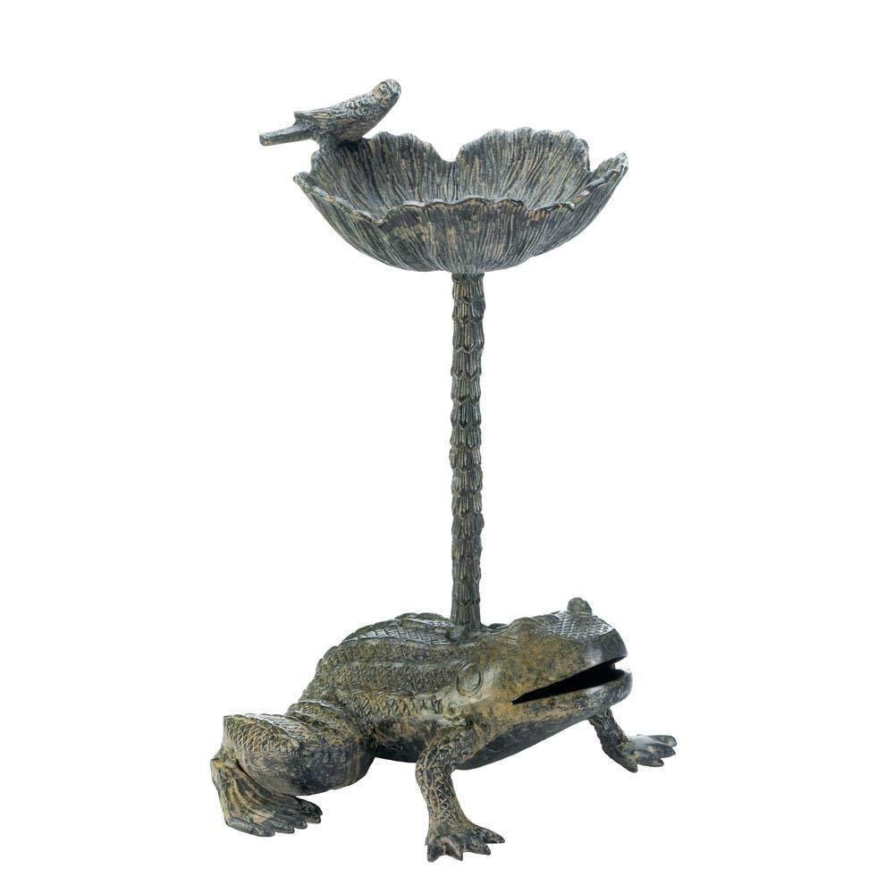 MD Group Birdbath Outdoor Garden Bird Feeder Leap Frog Design Aluminum Patio Decor