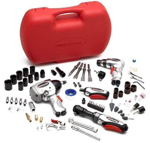 "Coleman Powermate 024-0178CT 74 pc. Cool Tool Air Tool Kit features 1/2"" Impact, 3/8"" Ratchet, Air Hammer, 1/4"" Die Grinder"