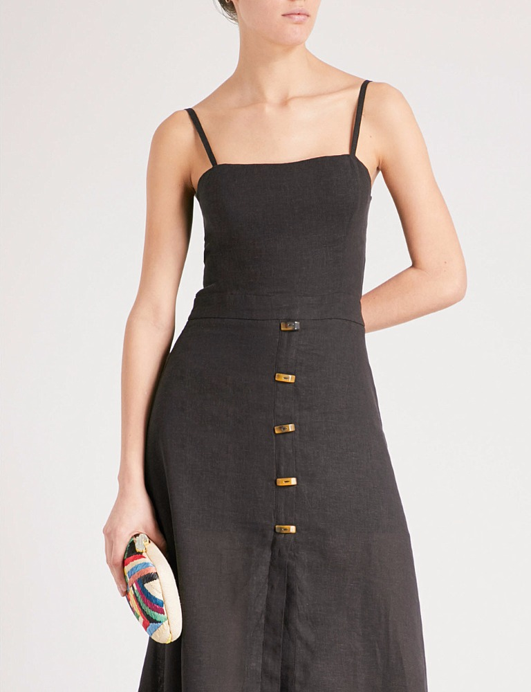 Clothing Women Summer Dresses Knee Length Linen Strap Maxi Dress Ladies