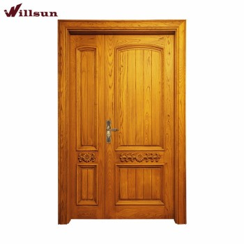 Ash Wood Simple Carving Indian Main Entry One And Half Double Doors
