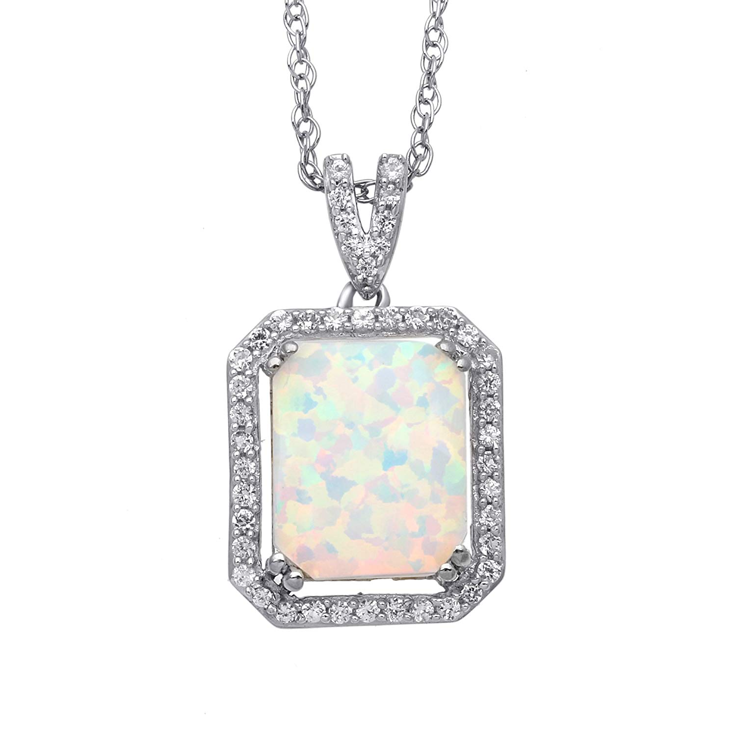 """Jewelili 18K Yellow Gold Plated Sterling Silver Created Opal Octagon With Created White Sapphire Pendant Necklace, 18"""""""