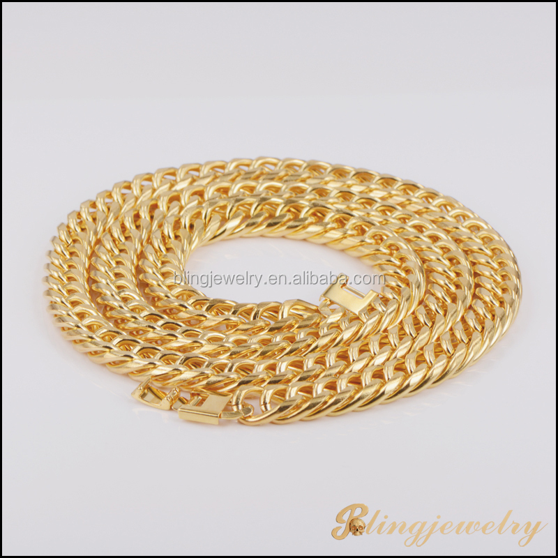 New Fashion Hip Hop Jewelry Gold Filled Miami Cuban Link Chain New