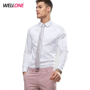 Guangzhou High quality soft long sleeve 65% polyester 30% cotton 3% spandex white buttons formal shirts and pants combination