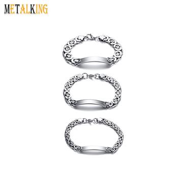 Byzantine Bracelets Stainless Steel Braid Chain Link Bracelet For Men Silver Color Polished Bend Can