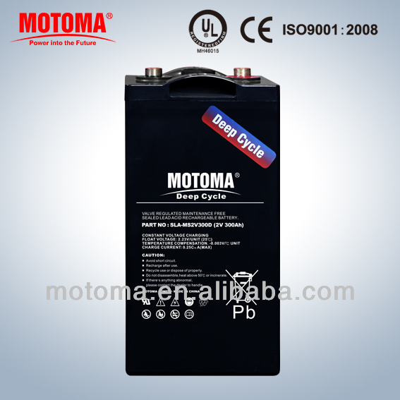 maintenance free sealed lead acid Gel rechargeable battery 2V300G for auto control system