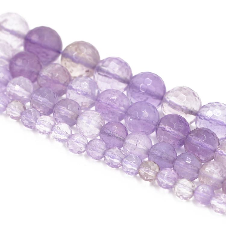 Purple Amethyst Round Gemstone 6mm 8mm 10mm 12mm Loose Beads DIY Bracelets