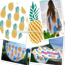 100% Cotton Terry Velour Sublimation printed Pineapple Round beach towel Beach Towel Round Wholesale roundie towel