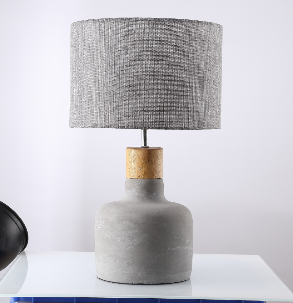 Concrete Ce Cement Round Base Table Lamp With Lampshade For Bedroom