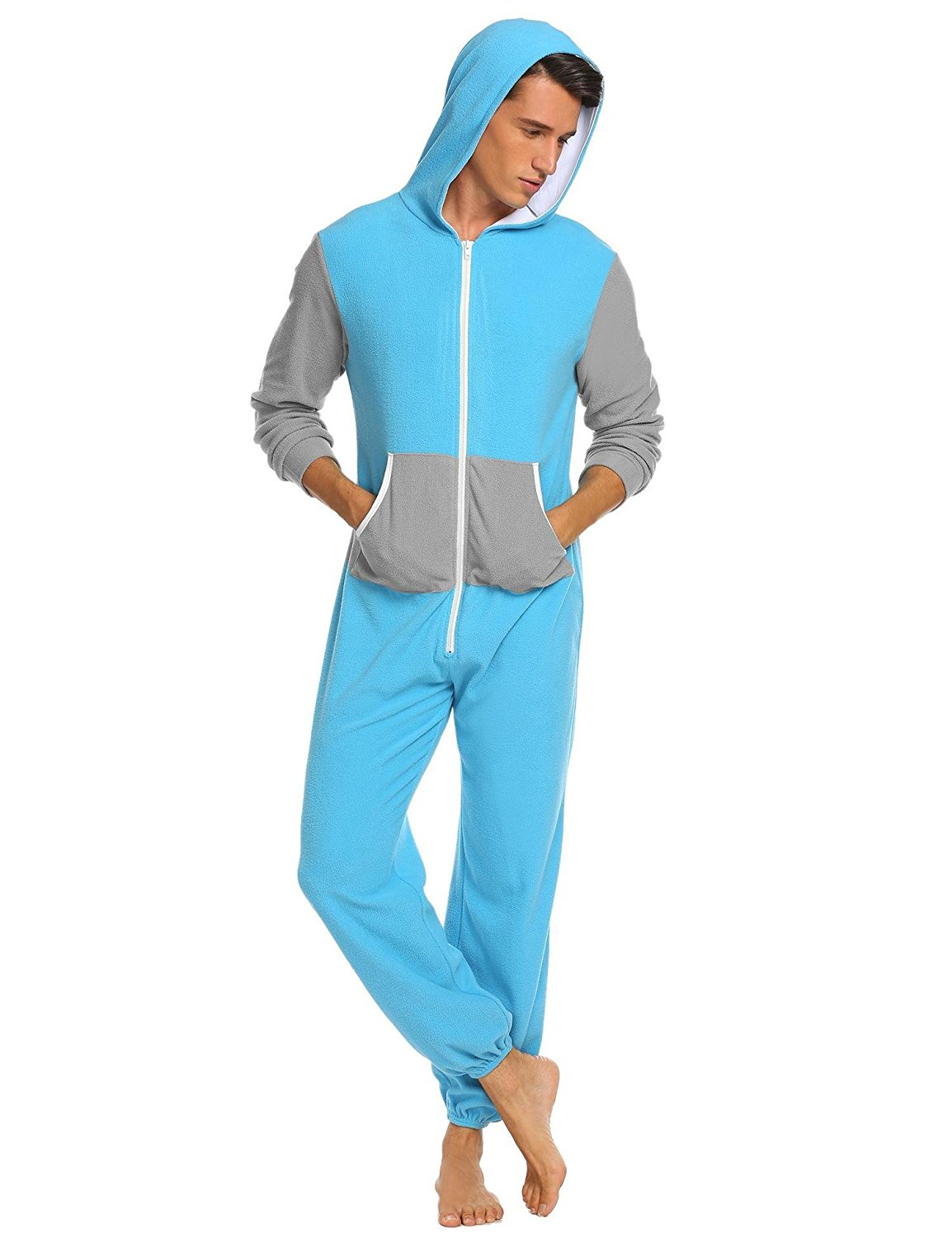 Get Quotations · Ekouaer Mens Hooded Pajamas Set Onesie Jumpsuit Adult One  Piece Pajamas Sleepwear f27424c46