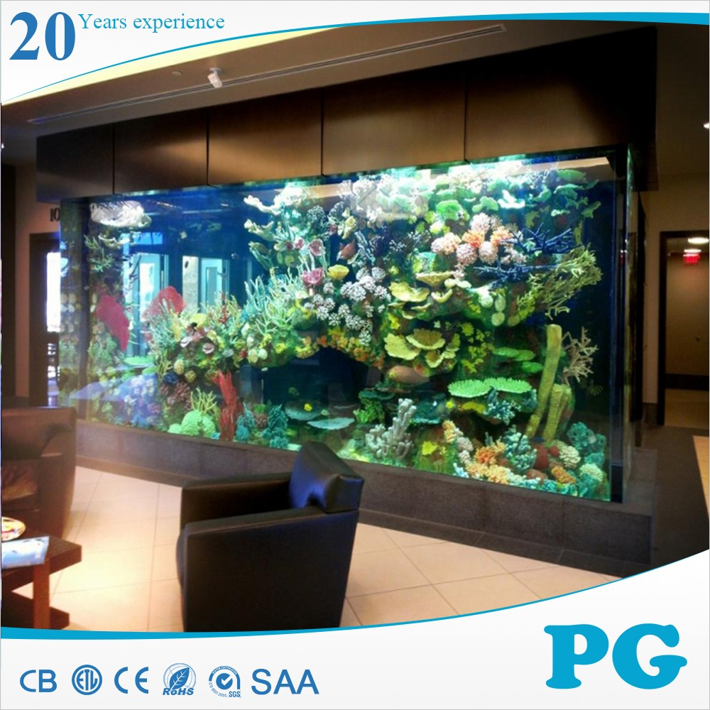 Pg large customized rectangle square acrylic aquarium for Acrylic vs glass fish tank