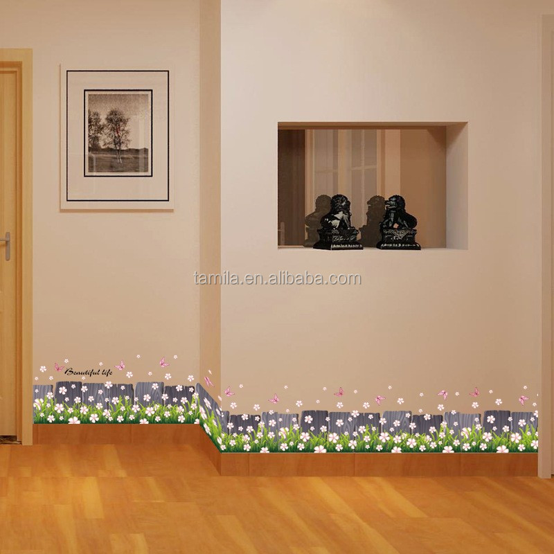 Butterfly Grass Wall Decal Sticker Flower Wallpaper Border Tile Sticker Self Adhesive Purple Fence PVC DIY Wall Border Stickers