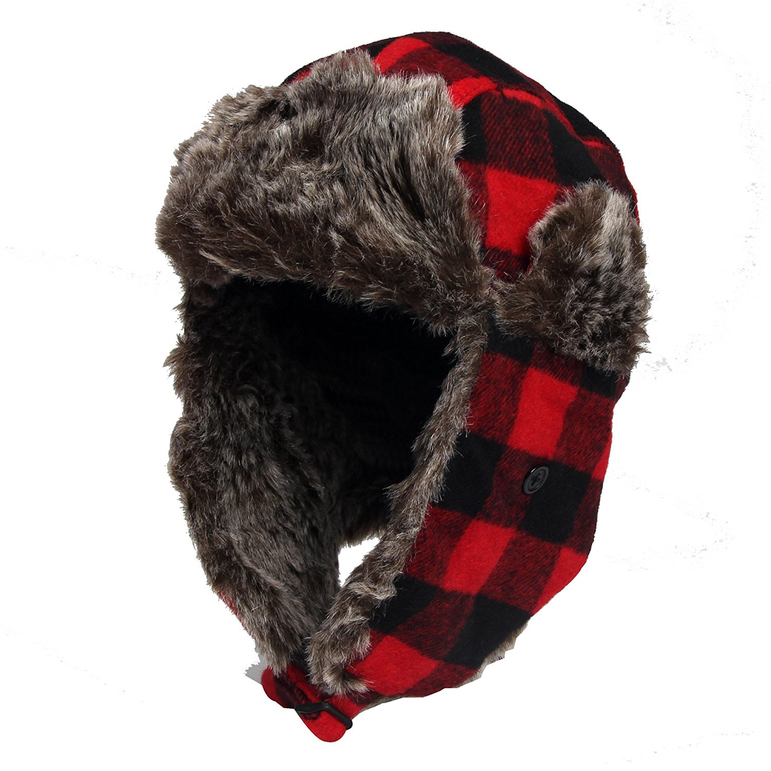 13aa136f7ca Get Quotations · DONGKING Wool Blend Trapper Hat Red Plaid Faux Fur Outdoor Winter  Hat For Women