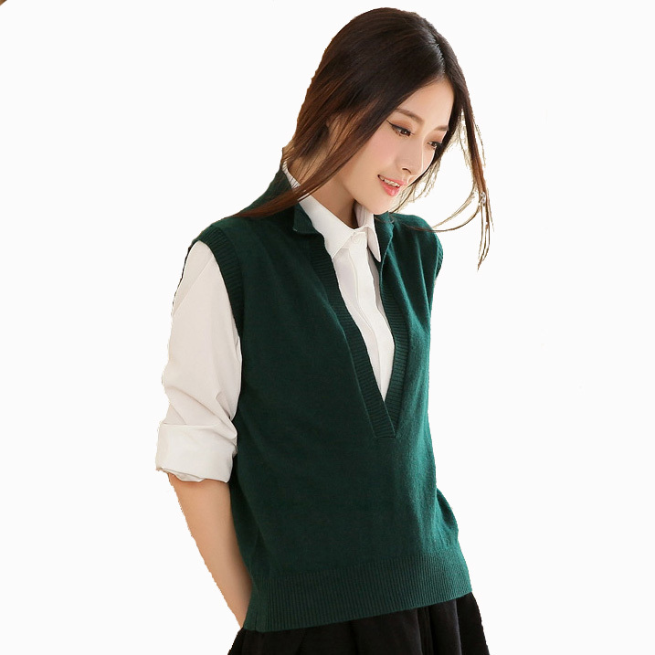 f3fe13bf17d479 Buy Winter Knitted Vest Women Cashmere Deep V Sleeveless Sweater Vests for  Women Long Sleeve Tunic Middle Age Women Fashion Brand in Cheap Price on ...