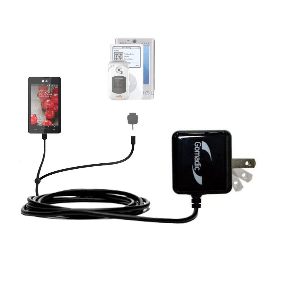 Gomadic Multi Port AC Home Wall Charger designed for the LG Optimus L4 II - Uses TipExchange to charge up to two devices at once