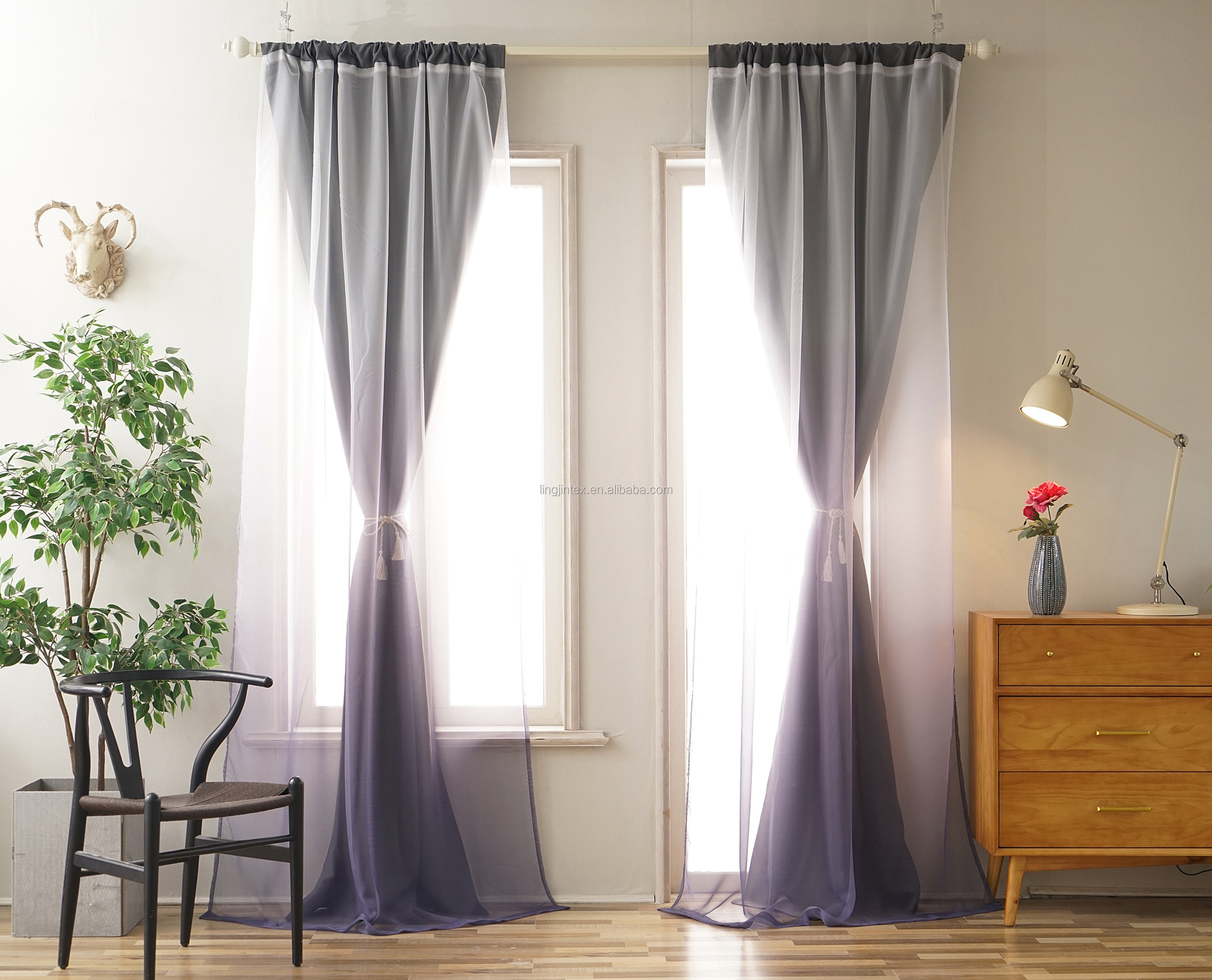 Window curtains blackout for living room grey ombre design fabric ready made curtain set