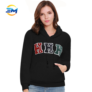 f48fb40de5cb Winter black plain pullover front chest custom made towel embroidery logo women  hoodies with low price