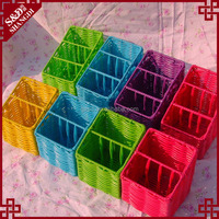 Cheap colorful oblique dividers design mini gift basket plastic weave basket