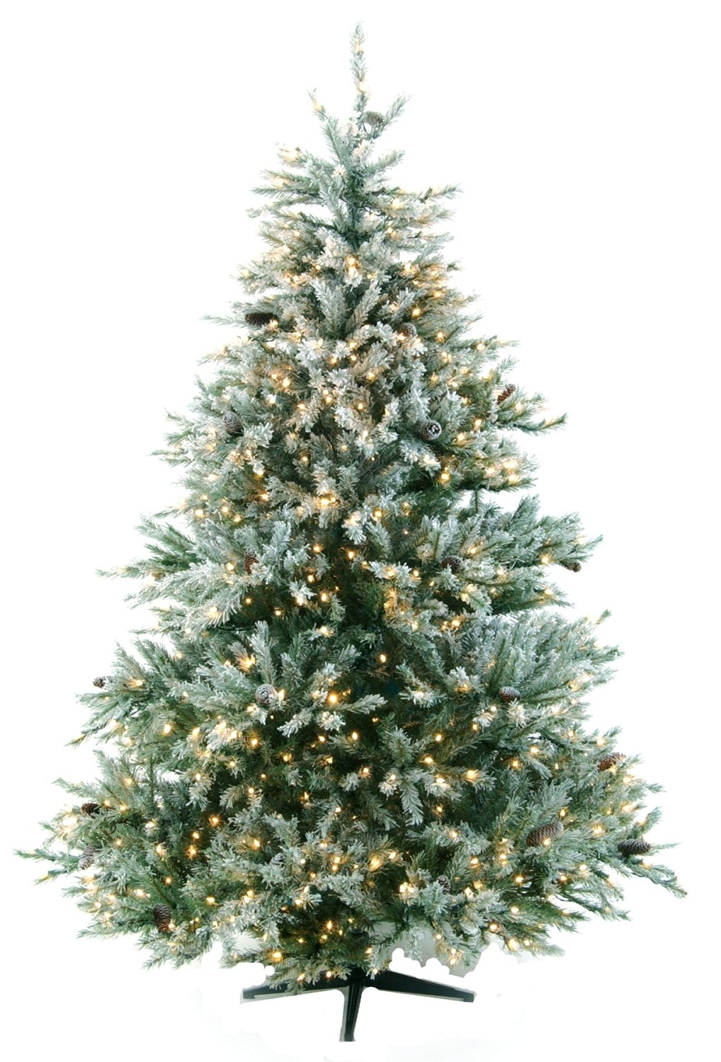 7.5 Glacial Fir Artificial Flocked Prelit Christmas Trees [161380]