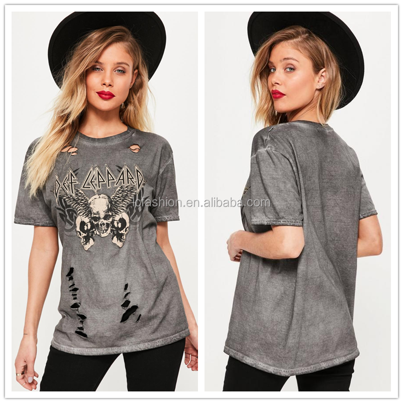 2017 Round Nck Acid Wash Cut out Print T-shirts for Women LC8233