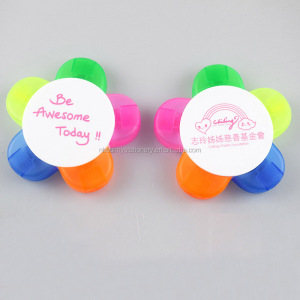 Customized 5 in 1 flower shape highlighter pen