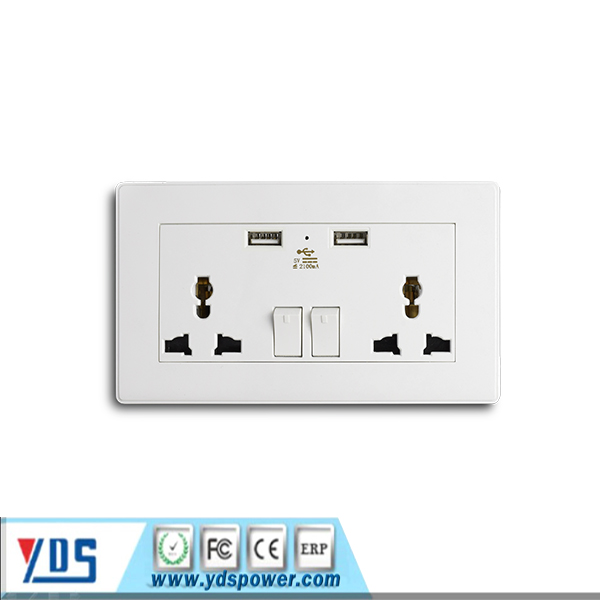 Made in China universal with USB port power charger switch socket 13A universal USB wall socket