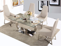 DH-1445 Wholesale 5pc glass top metal kitchen furniture dining room table set
