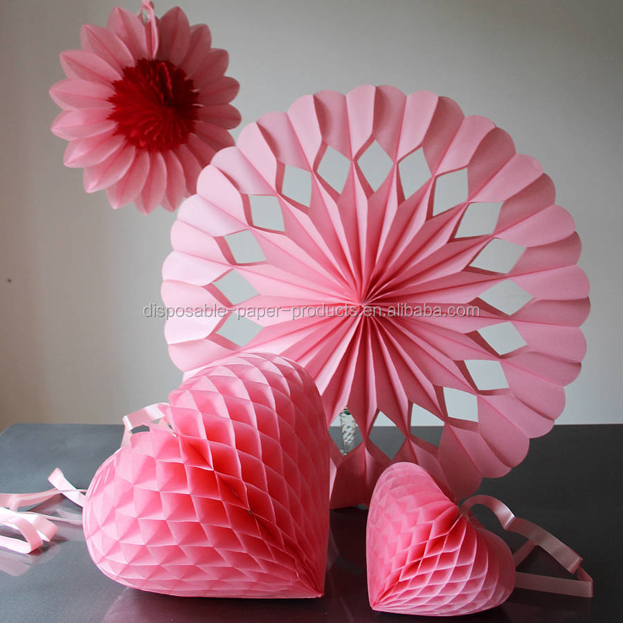 Pink White Paper Luxe Heart Giant Fan Decorations