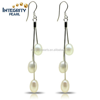 f2a41a0a6af8f Aaa Classical White Rice 7.5-8mm 925 Silver Long Freshwater Dangle Pearl  Earring - Buy Long Dangle Pearl Earring,Aaa White Rice Long Dangle Pearl ...
