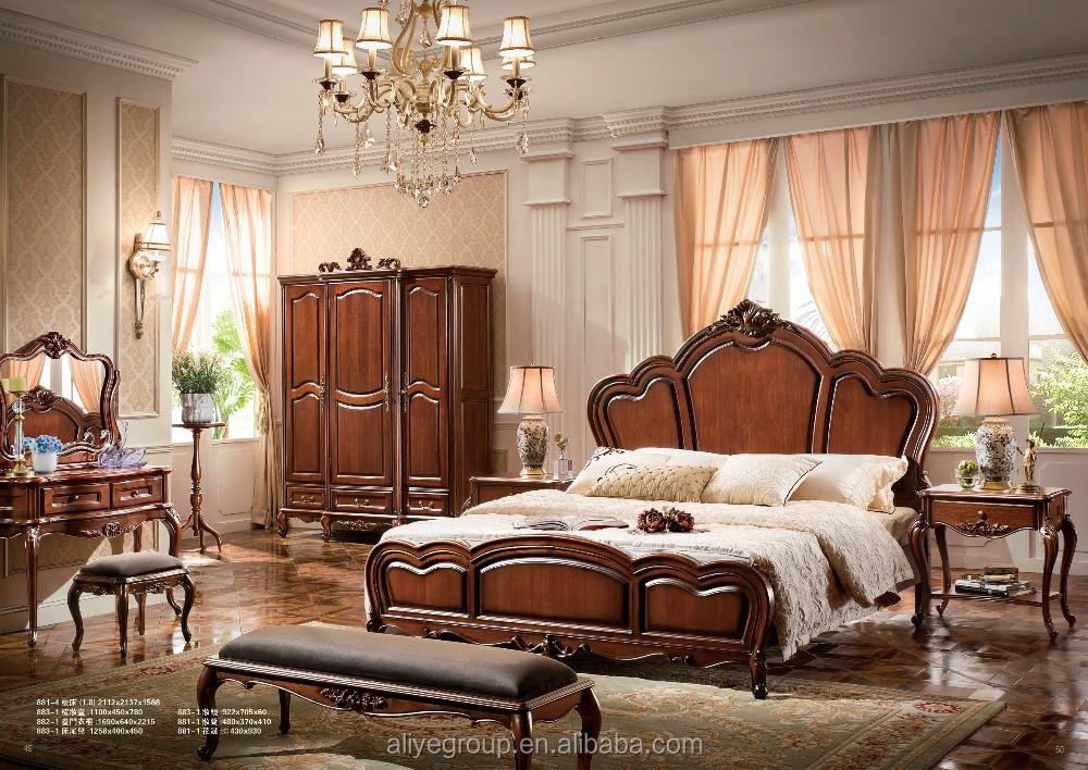 Ab33-teak Cama De Madera/madera De Teca Maciza Muebles De Dormitorio ...