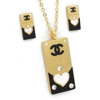 Ladies Heart Jewelry Accessories Wholesale Gold Rhinestone Necklace Set For Wedding