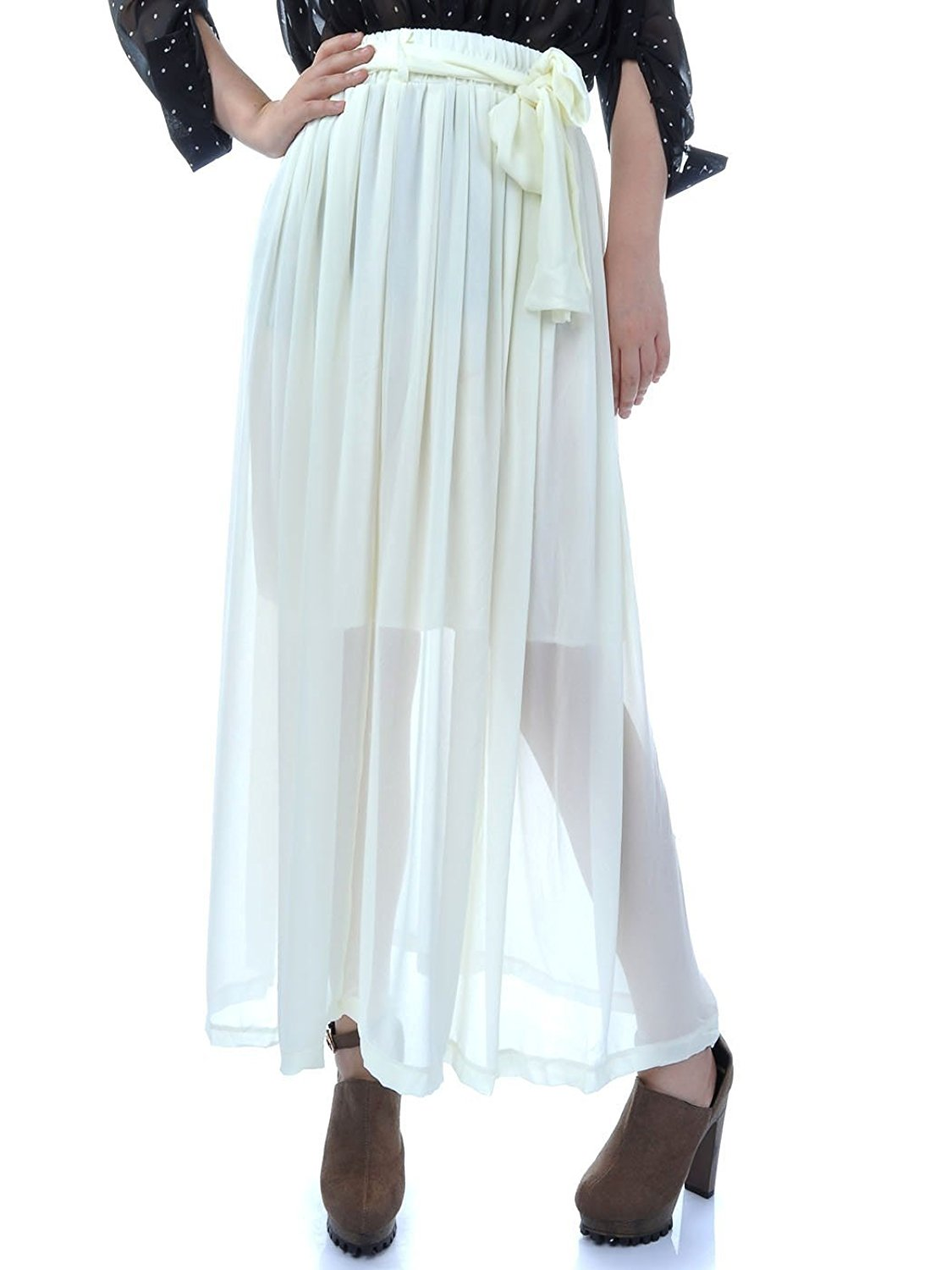 0557a777c ... Pleat Semi Sheer Maxi Skirt. 29.99. null. Get Quotations · Anna-Kaci  S/M Fit Beige Offwhite Long Ankle Length Chiffon Semi-Sheer