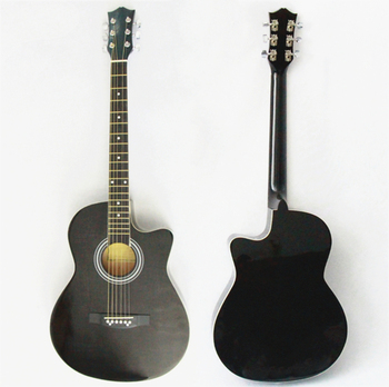 OEM Full Size 38'' Inch Student Level Wholesale Plywood Transparent Black Color Cutaway Acoustic Guitar