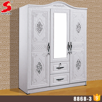 Custom made closet home furniture MDF wooden 3 doors wardrobe design