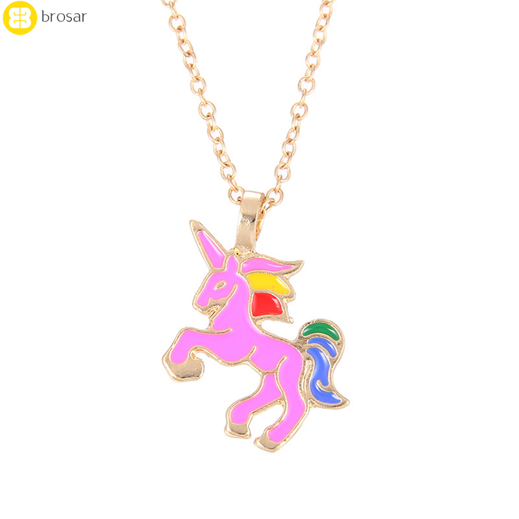 Fashion Gold Plated Jewelry Color Glaze The Sparkled Animal Pendant Unicorn Horn Necklace Kids Jewellery