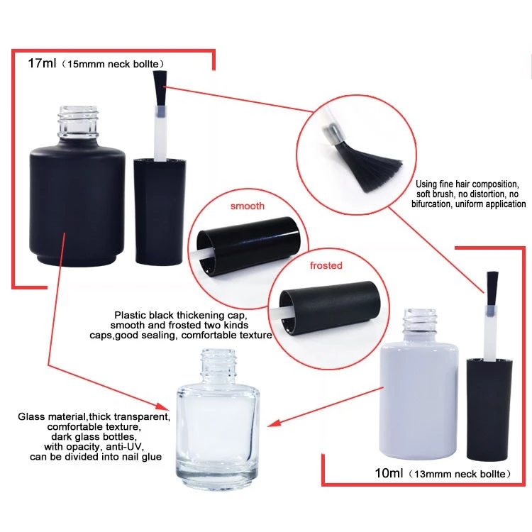Nuevo tipo de 10 ml vacío negro Uv Gel de vidrio cosmético botella de esmalte de uñas
