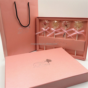 Wedding box candy gift love story flower shape lollipop