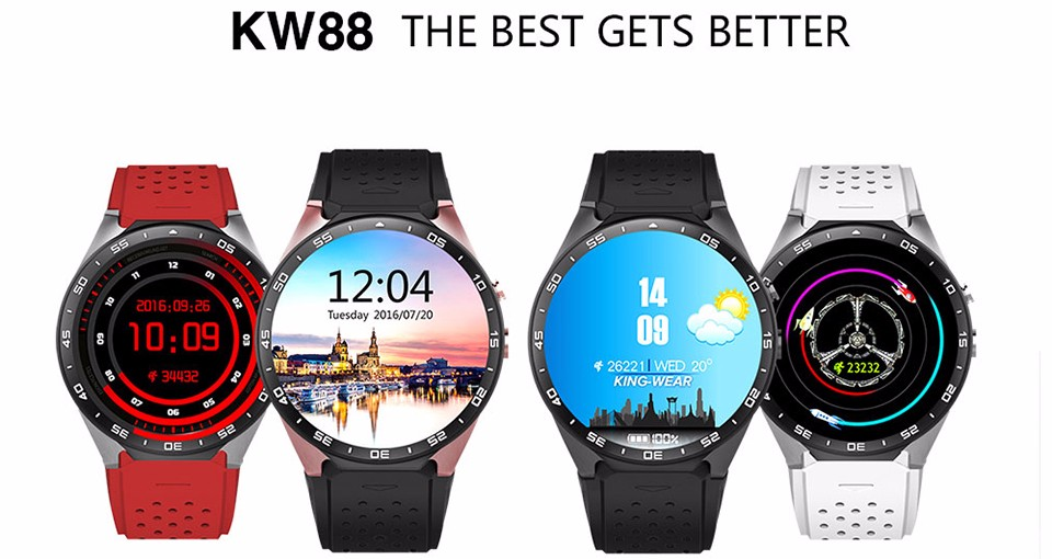 Time Owner KW88 Clock Smart Watch Android 5 1 OS 2 0 MP Camera Smartwatch  Support SIM 3G Network GPS WIFI Google Play/Map/Voice