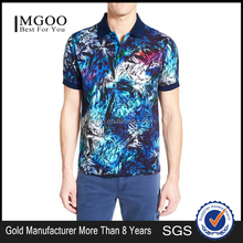 Custom Made Clothing Manufactures Mens Short Sleeve Polo Shirt With All Over Floral Print Polo With Rib Collar