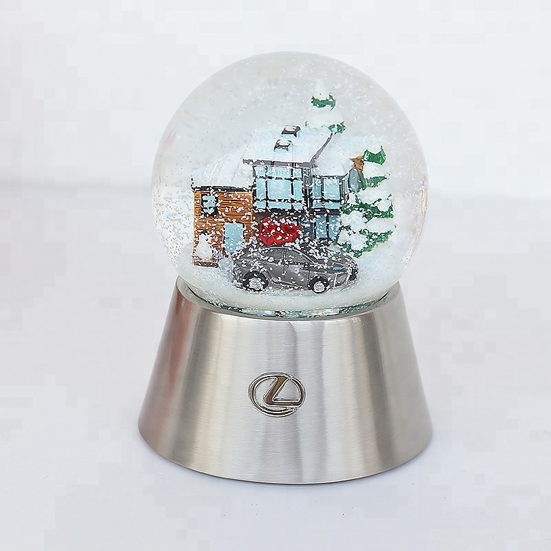 Factory White Horse Internal Rotation Snow Globe Brand Diamond Custom Resin Snow Ball With Music Function For Gifts